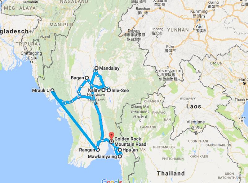 Myanmar – Reiseroute