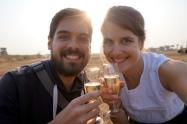 Myanmar Bagan Heißluftballon Champagner
