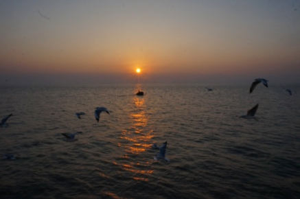 Myanmar Fähre nach Mrauk U Sonnenaufgang