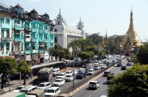 Myanmar Yangon Straße zur Sule Pagode