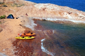 USA: Unser Camp in einer Bucht auf Antelope Island