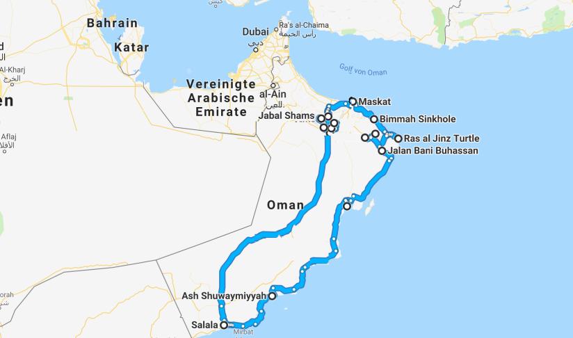 Oman – UnsereReiseroute