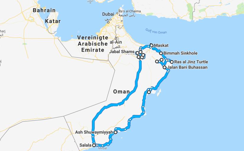 Karte Oman Salalah.Oman Unsere Reiseroute Pupak